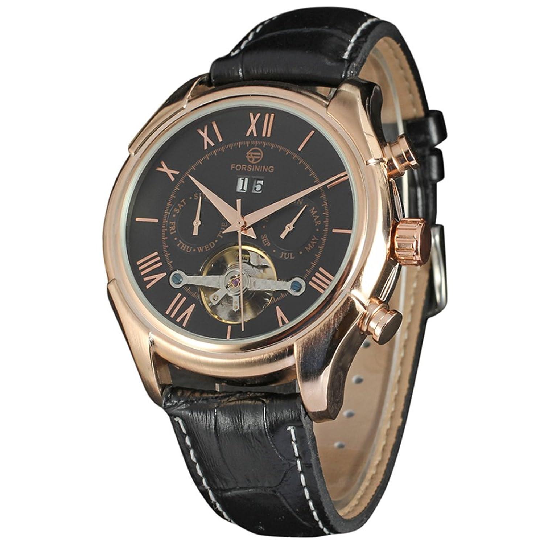 高級ブランドForsining新しいMechanical Watch自動Flywheelメンズ時計本革 B06ZZH7ZMD