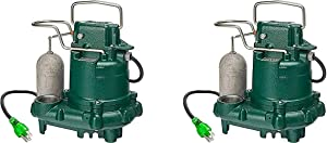Zoeller M63 Premium Series 5 Year Warranty Mighty-Mate Submersible Sump Pump, 1/3 Hp (Pack of 2)