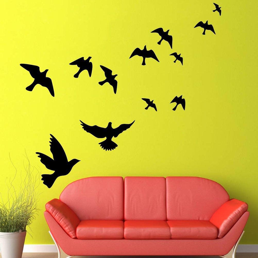 Amazon.com: WINOMO Wallpaper Black Flying Bird Wall Stickers Decal ...