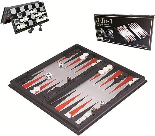 Juego De Backgammon Plegable, Juego De Backgammon De Viaje Magnético, Juego De Mesa 3 En 1, Juego De Mesa, para Actividades Familiares De Fiesta: Amazon.es: Hogar