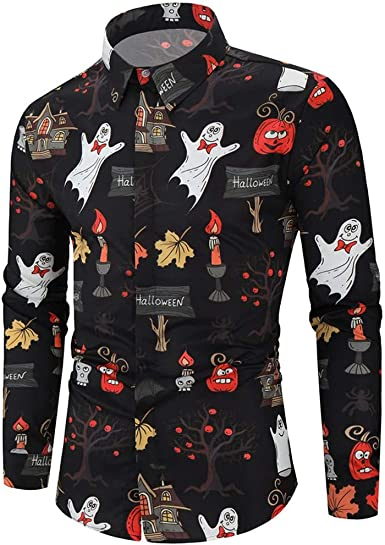 Winkey Camisa de Negocios para Hombre, de Moda, Informal, de Halloween, con Mangas largas, Blusa de Manga Larga: Amazon.es: Ropa y accesorios