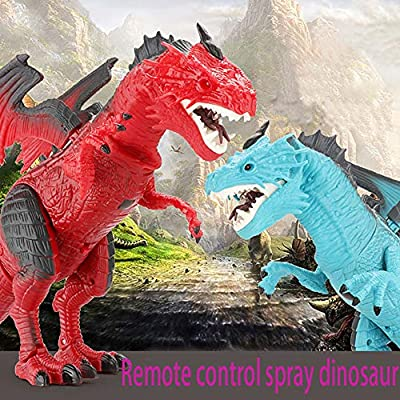 AMOFINY Baby Toys Remote Control Spray Dinosaur Toy Remote Control Walking Dinosaur Toy Fire Breathing Water Spray