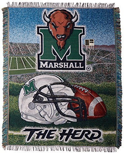 Officially Licensed NCAA Marshall Thundering Herd Home Field Advantage Woven Tapestry Throw Blanket, 48