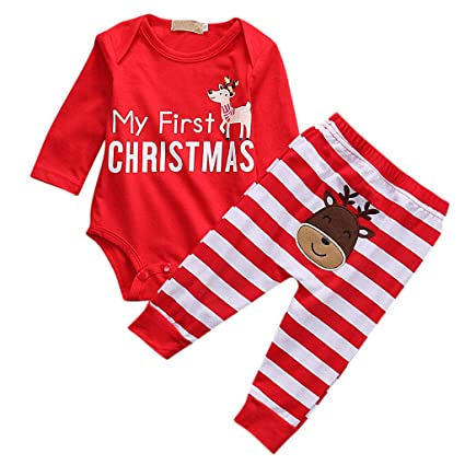 91a1251fbd75 chenpaif Newborn Baby Clothes Christmas Long Sleeve Deer Romper Jumpsuit  Stripe Pants Set M  Amazon.co.uk  Kitchen   Home