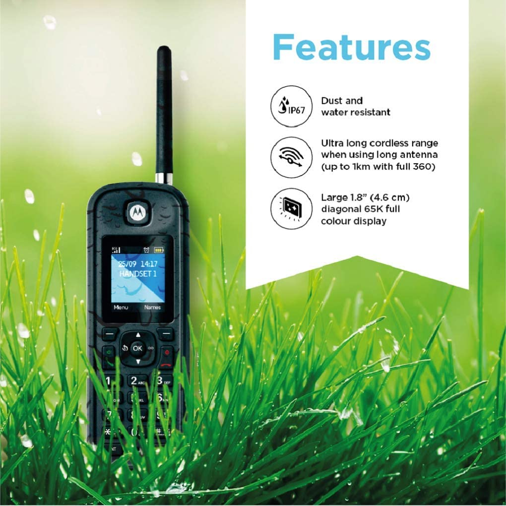 Motorola O212 Indoor//Outdoor Digital Cordless Phone with Answering Machine and 2 Handsets