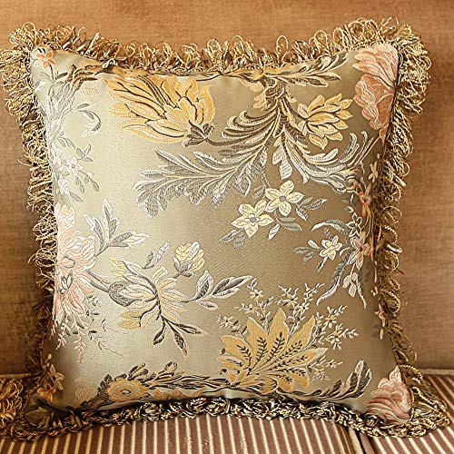 MeMoreCool Square Soft Throw Pillow Cover, Satin Floral Pattern Pillowcase 18 x 18 Inches, Grey Green Pillowslip for Car, Sofa or Bed
