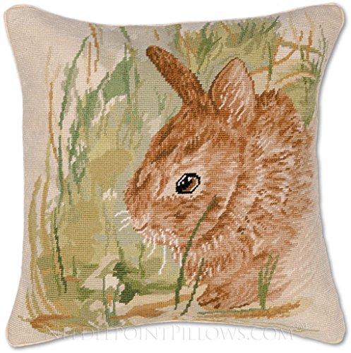 Handmade 100% Wool Needlepoint Decorative Spring Easter Bunny Rabbit Throw Pillow. 18