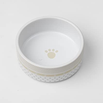 Cat Supplies Black Paw Dog Bowl With White Bowl And Black Dots