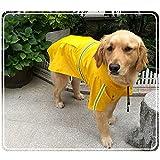 Dog Raincoat Leisure Waterproof Lightweight Dog Coat Jacket Reflective Rain Jacket with Hood for Small Medium Large Dogs(Yellow,L)