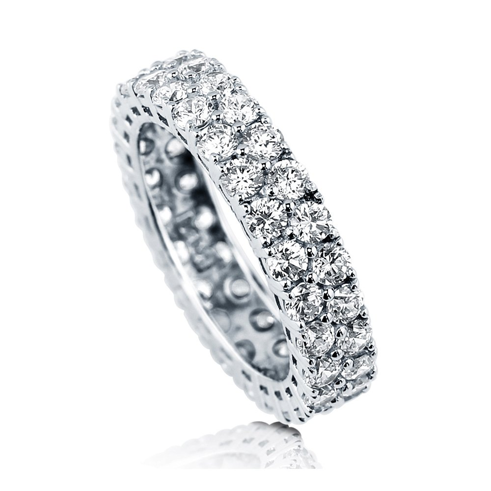 BERRICLE Rhodium Plated Silver Cubic Zirconia CZ Anniversary Stackable Eternity Ring Size 7