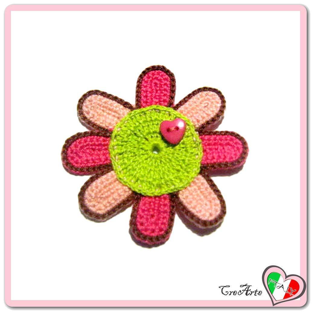 Flor fucsia salmón y verde para aplicaciones, broche o imán ...