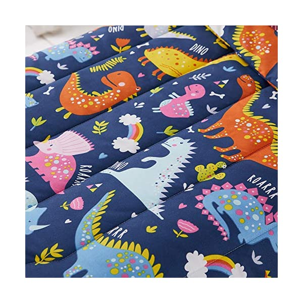 Joyreap 4 Piece Toddler Bedding Set, Standard Size Colorful Dinosaur Printed on Navy, Includes Quilted Comforter, Fitted Sheet, Top Sheet, and Pillow Case for Boys n Girls 6