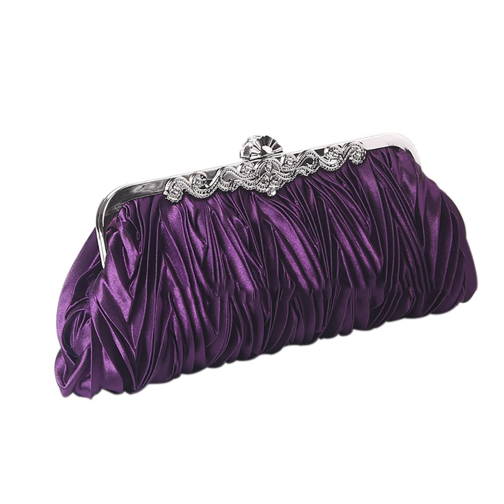 QZUnique Women's Vintage Satin Clutch Purse Pleated Crystal Evening Handbag Shoulder Bag Purple