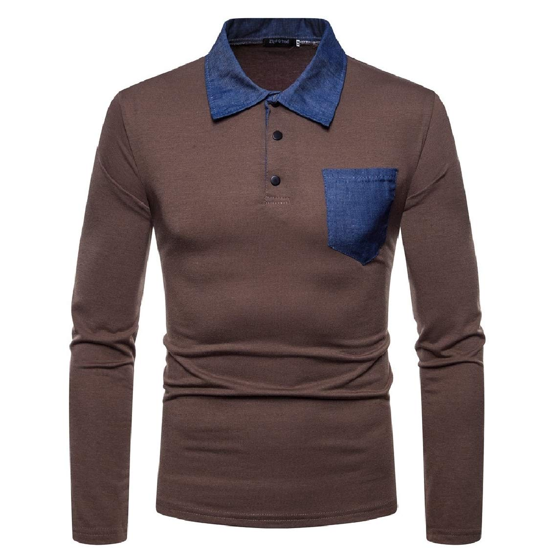 Freely Mens Causal Stitch Lapel Long-Sleeve Autumn Polo Shirts Tees Top