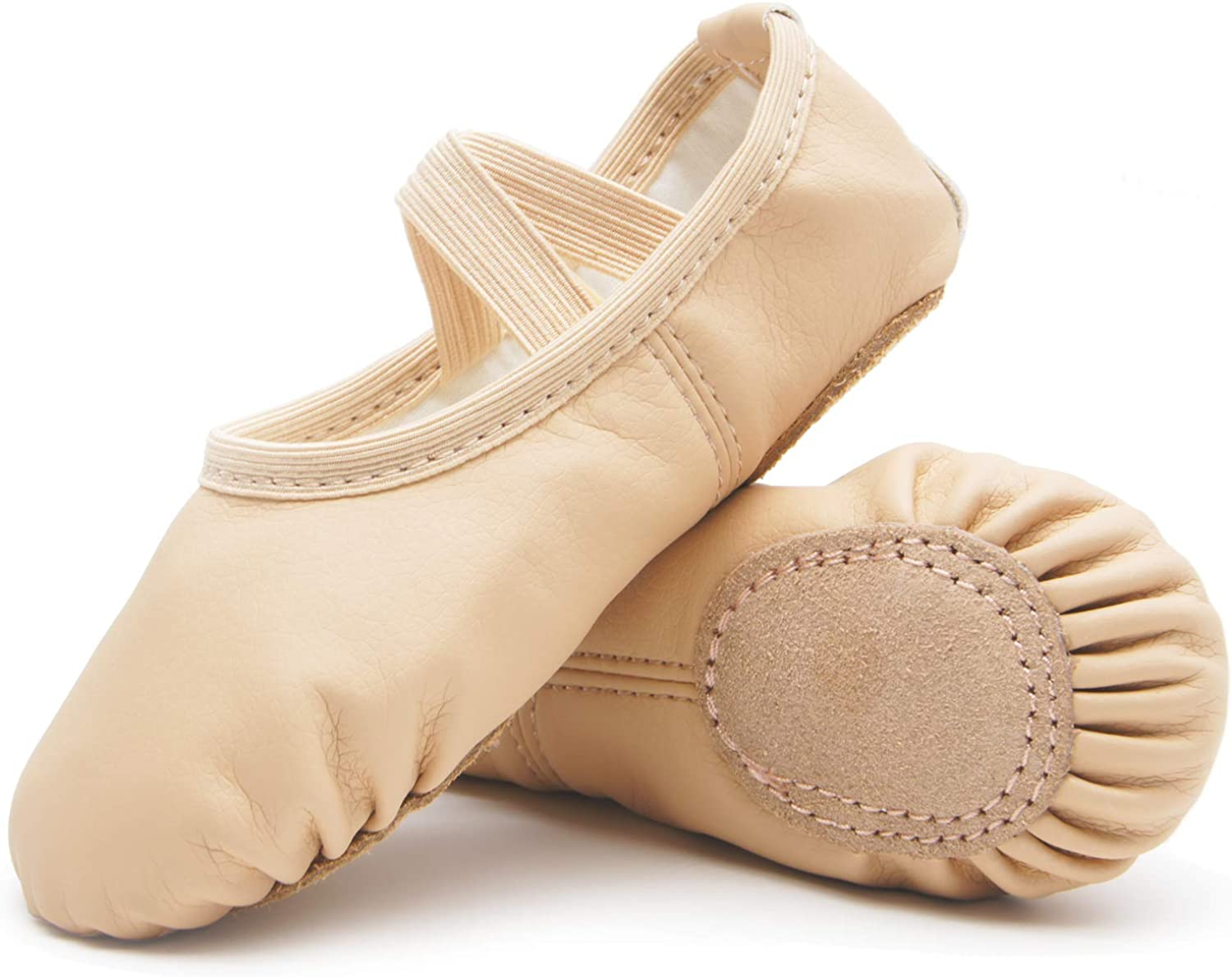 DIPUG Ballet Shoes for Girls Toddler Ballet Shoes Leather Dance Ballet Slippers No Ties