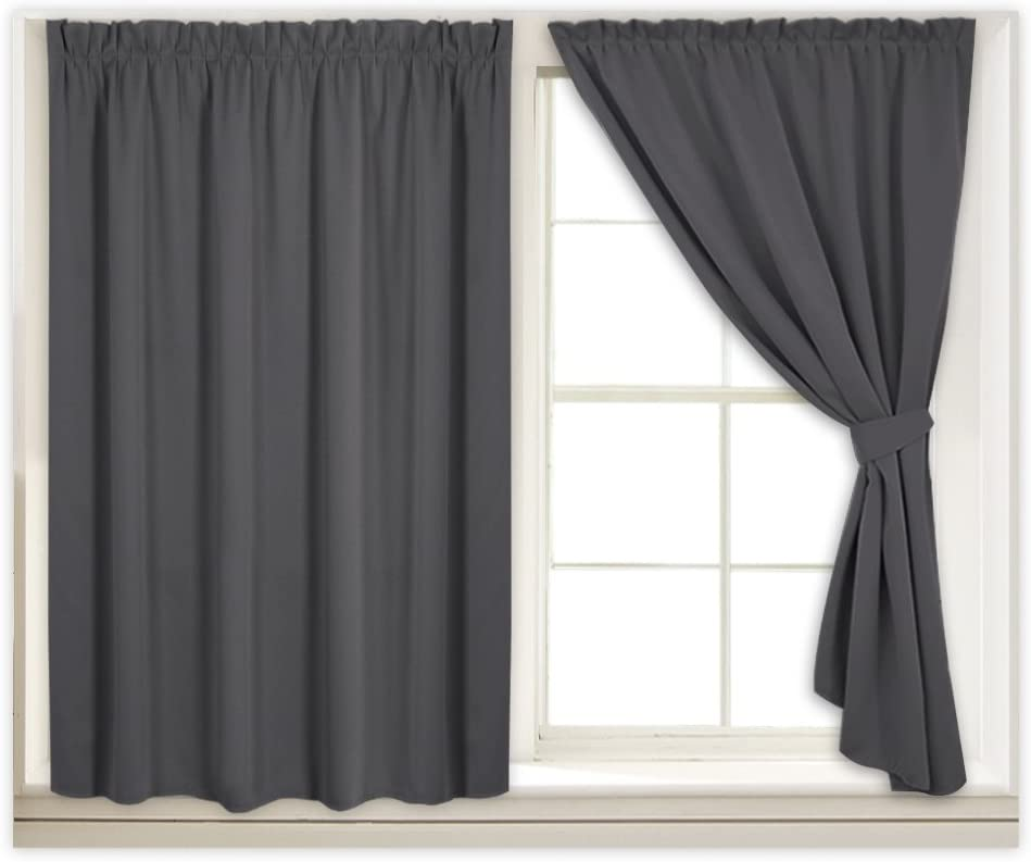 RYB HOME Grey Blackout Curtain Blind Drapes for Bedroom, Window Treatments Room Darkening Window Shades for Daytime Sleepers with 2 Tiebacks & Sticky Strap, W 40 in x L 63 in Each Panel, Gray,1 Pair