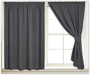 RYB HOME Window Treatment Panels for Bedroom, Room Darkening Drapes Noise Insulated Blackout Curtains for Nursery / Kids, Give Free Sticky Strap & 2 Tiebacks, 40 Width x 54 Length, Gray, 1 Pair