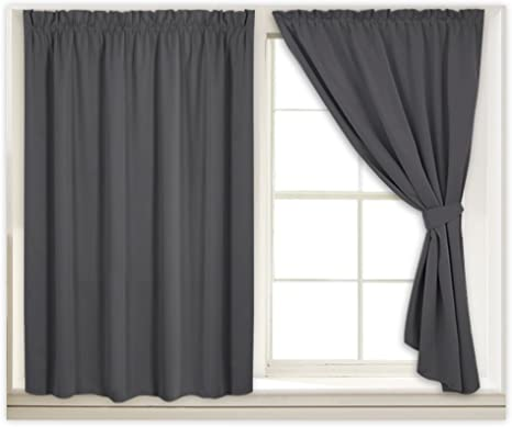 Solid Color Self-Sticky Blackout Curtains Thermal Insulated Window Drapes Panel