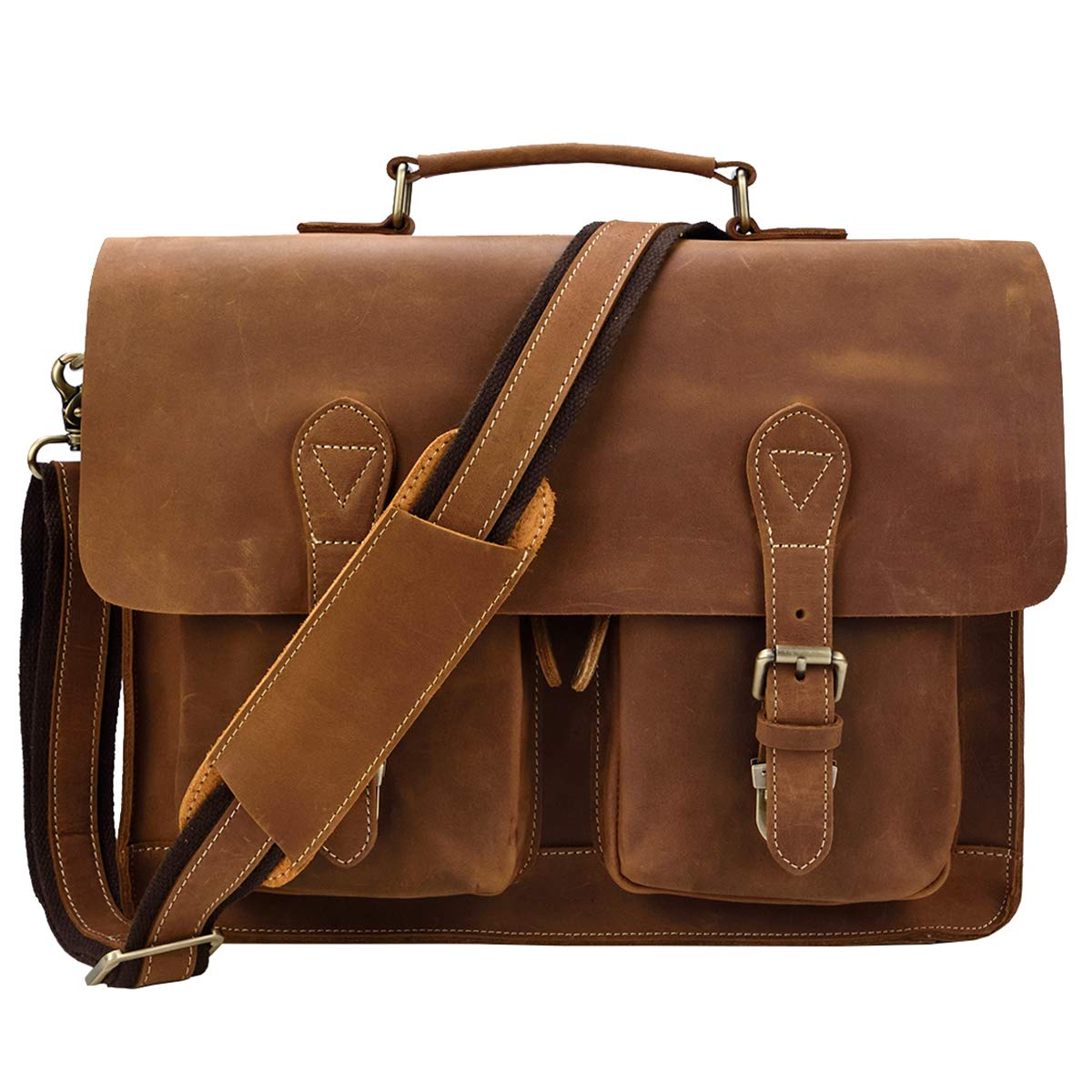 ビジネスバッグ 本革 メンズ 大容量 2way 自立可 レトロ レザー ブリーフケース 2色 2サイズ B4 15.6インチPC収納 通勤用 鞄 男性 ビジネス鞄 出張 B07L3DGLJK ライトブラウン 42cm