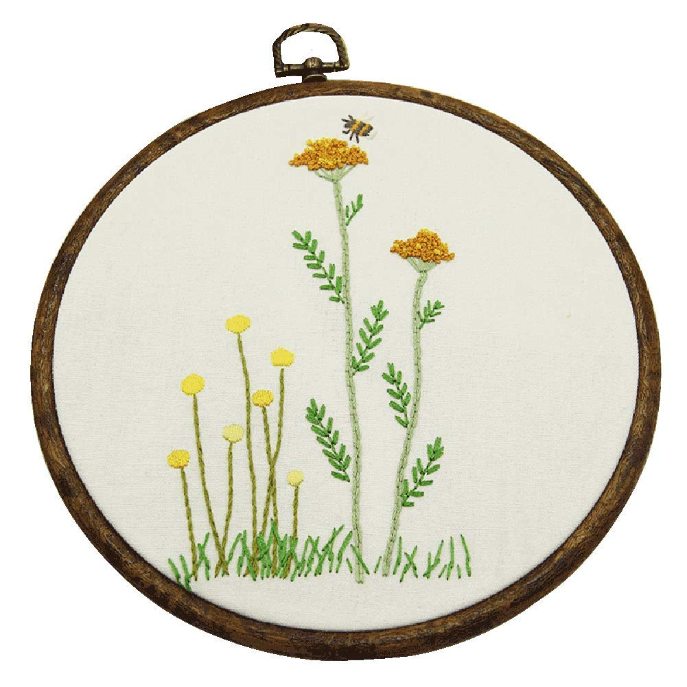 Embroidery Kit for beginners, Gift Set, Little Wild Flowers and Bee Design (No Frame) COZY HUT 4336933405