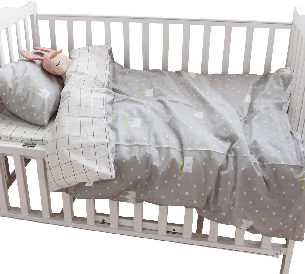 Pillowcase Quilt Cover No Comforter 3pcs Crib Bedding Set CC Shop Lovely Baby Toddler Flat Bed Sheet Not Fitted Sheet Gray Star /& Stripe