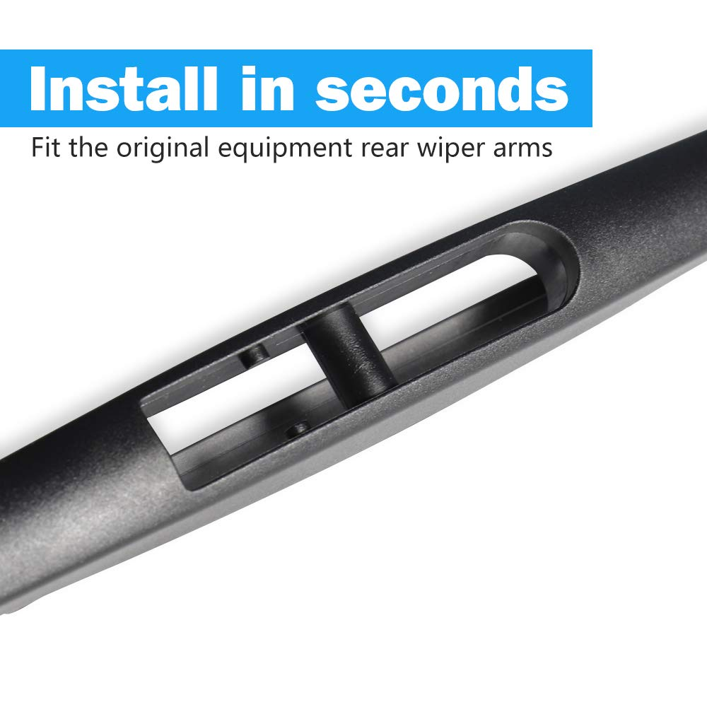 Pack of 2 Rear Wiper Blade,ASLAM 12J Rear Windshield Wiper Blades Type-E for Original Equipment Replacement,Exact Fit