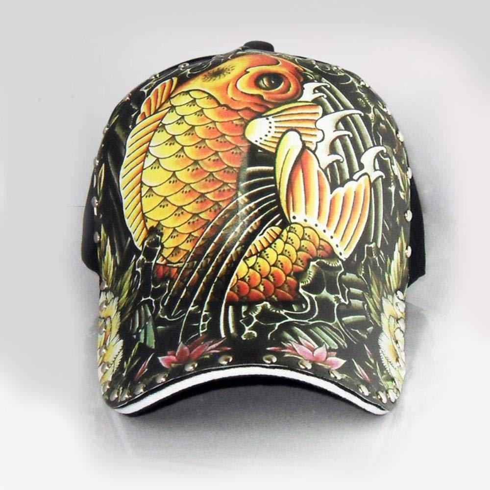 Men Women Brand Hat Carp Fish Floral Luxury Hats Girl Boy Hip Hop Baseball Cap Chic,58-64cm