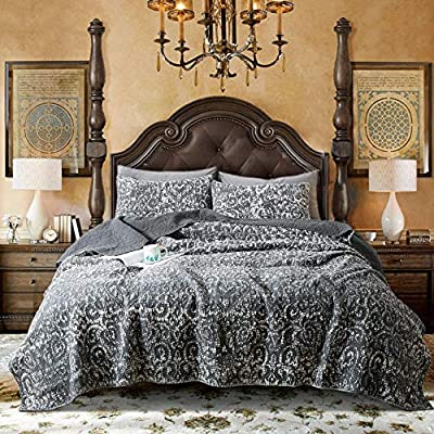 DOMDEC Stone Washed Quilt Mini Set Cozy Soft Embroidery Stitching Covrlet Set 100% Cotton Light Weight Comforter Set