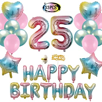 25th Birthday Decorations Gradient Happy Foil Balloons Rainbow Star Heart