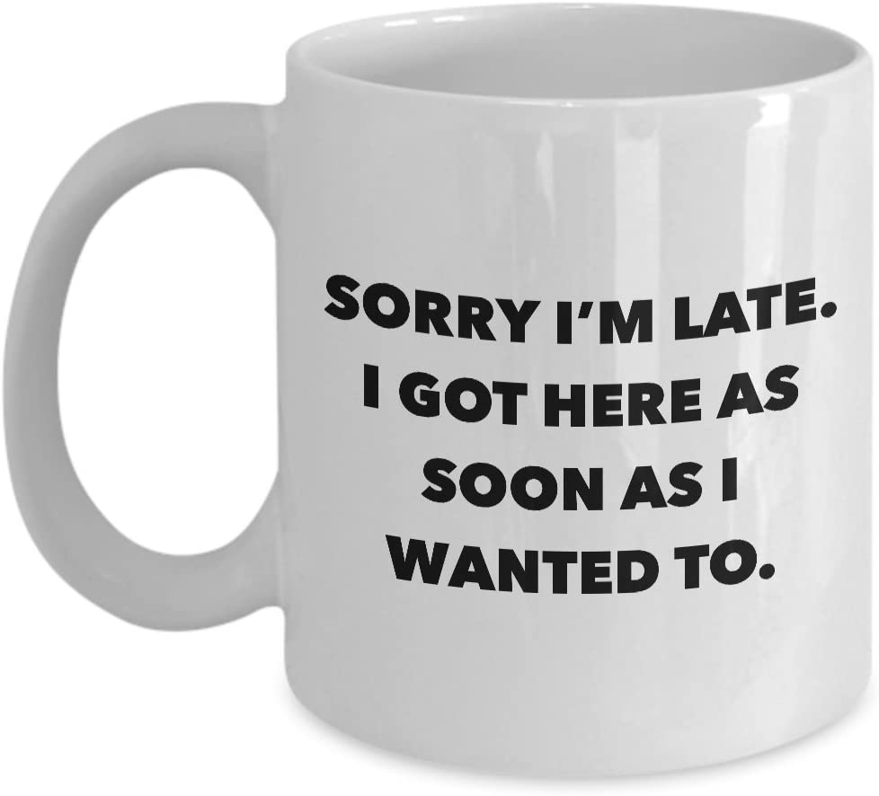 Funny Office Coffee Mug - I Hate Work Gifts - Sorry I'm Late I Got Here As Soon As I Wanted To Ceramic Coffee Cup