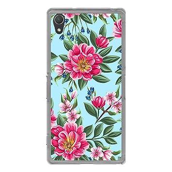 BJJ SHOP Funda Transparente para [ Sony Xperia Z2 ], Carcasa de Silicona Flexible TPU, diseño: Flores Rosas Sobre Fondo Azul