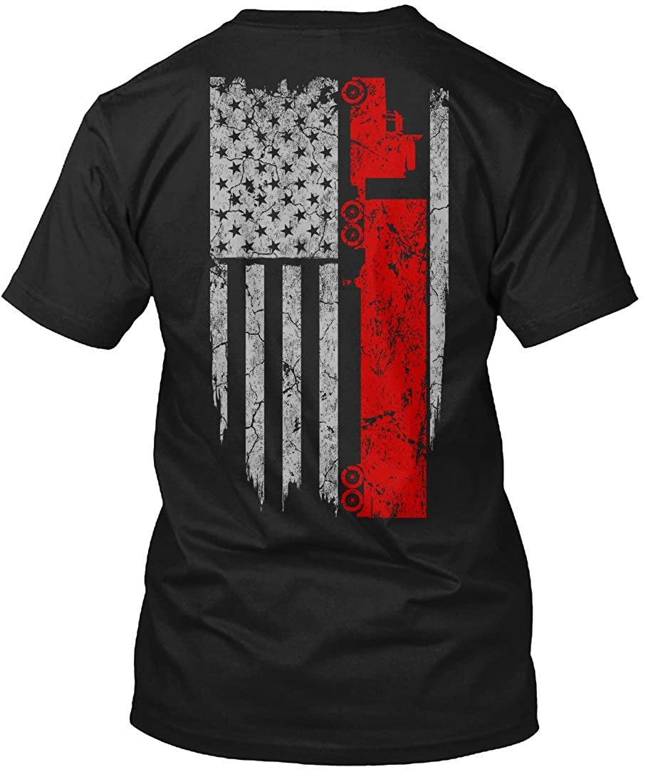 Trucker T-Shirt Trucker Usa Flag American Flag Truck Driver T-Shirt For Mens