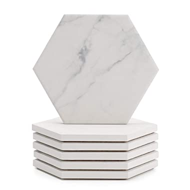 Sweese 242.101 White Marble Pattern Absorbent Ceramic Coasters for Drink with Cork Back, Prevent Furniture from Dirty, Spills, Water Ring and Scratched, Set of 6