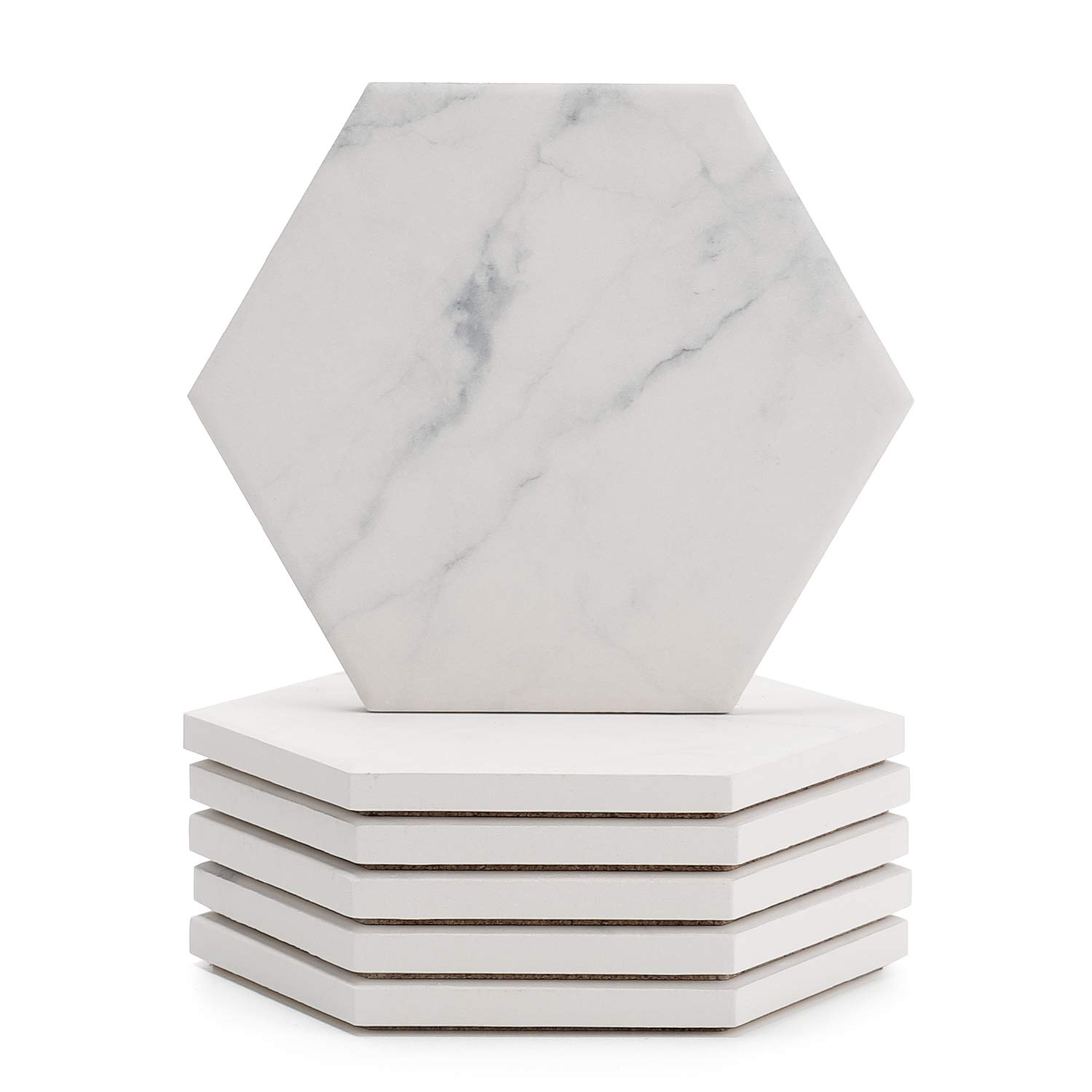 Sweese 3413 White Marble Pattern Absorbent Ceramic Coasters for Drink with Cork Back, Prevent Furniture from Dirty, Spills, Water Ring and Scratched, Set of 6