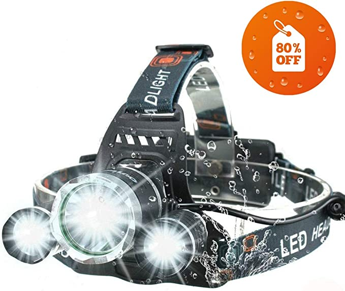 Super Bright Head Torch 5000 l/úmenes Faros Delanteros LED WODT Faros Delanteros Faros Recargables USB para Correr Luces de Trabajo para Exteriores