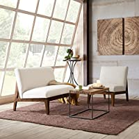 Kari Slant Back Wood Settee Cream See below