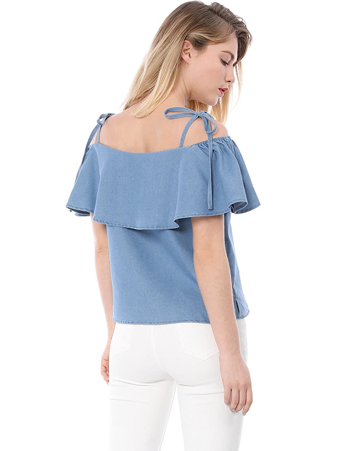 5d30006be2 Allegra K Women s Self Tie Strap Elastic Chambray Ruffle Off Shoulder Denim  Top  Amazon.co.uk  Clothing