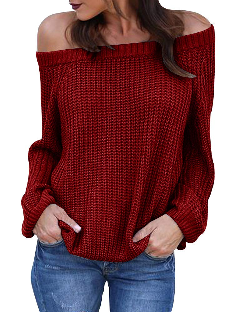 Womens Off The Shoulder Sweaters Fall Oversized Cable Knit Pullover Jumper (Small, Burgundy)