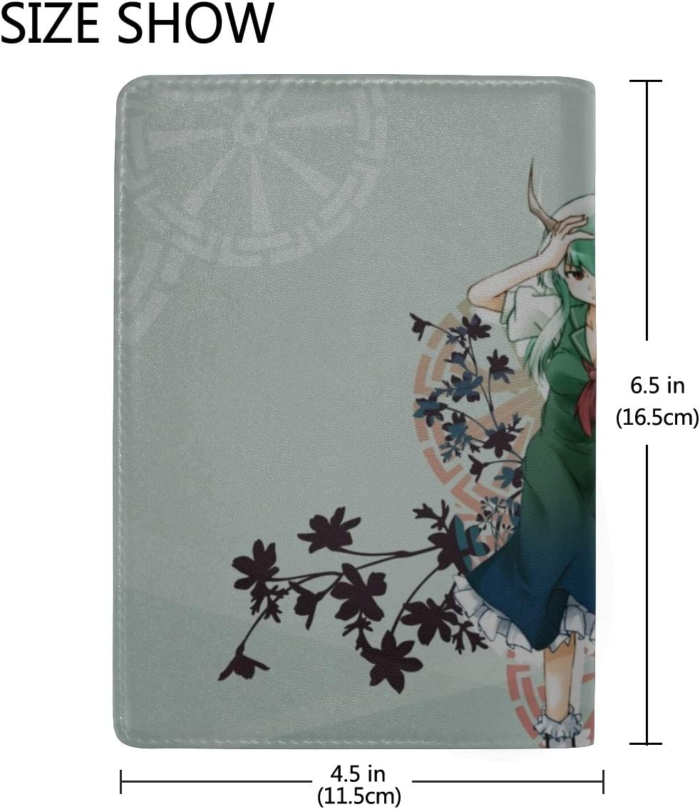 Girl Horn Plant Animal Picture Leather Passport Holder Cover Case Travel One Pocket
