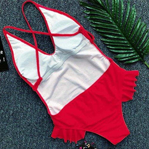 Costume Estate up da Coordinati Piece Intero bagno One Donna Bikini Balze Backless BYSTE Push da Beachwear Costumi Swimsuit Sexy Bagno Costumi Trikini Rosso qtRwz7