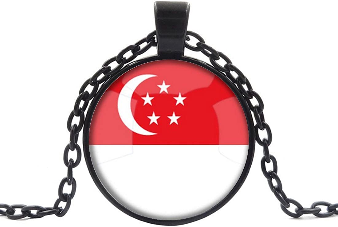 5 Styles Chain Included Round Shape Republic Singapore Nigeria National Flag Pendant Necklace Adjustable Length Handmade Jewelry