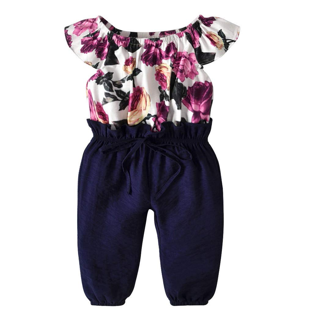 ManxiVoo Baby Infant Girl One-Pieces Floral Patchwork Ruffles Sleeveless Long Romper Jumpsuits Clothes