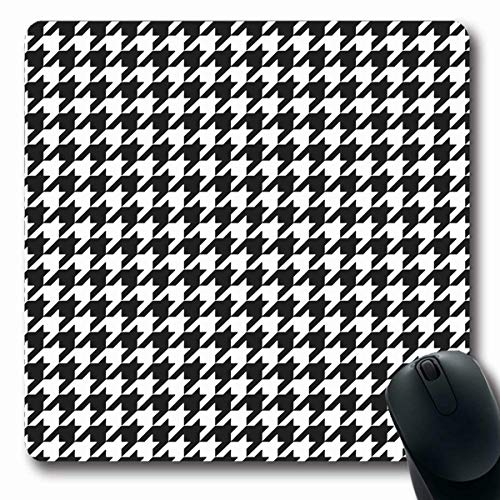 (VivYES Gaming Mousepad Custom Fleece Abstract Houndstooth Plaid Pattern Alternating Black White Geometry Hounds Tooth Check Blazer Oblong Shape 7.9 x 9.5 Inches Rectangle Non-Slip Rubber Mouse Pads)