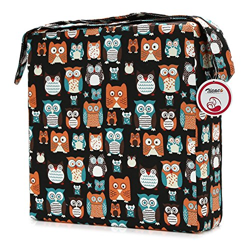 Zicac Toddler Booster Seat for Dining - Baby Kids Infant Portable Dismountable Highchair Booster Cushion Washable Thick Chair Seat Cloth Strap (Black Owl)