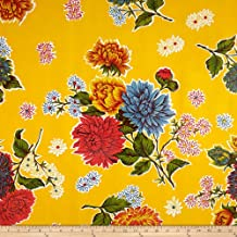 Oilcloth Mums Yellow Fabric By The Yard