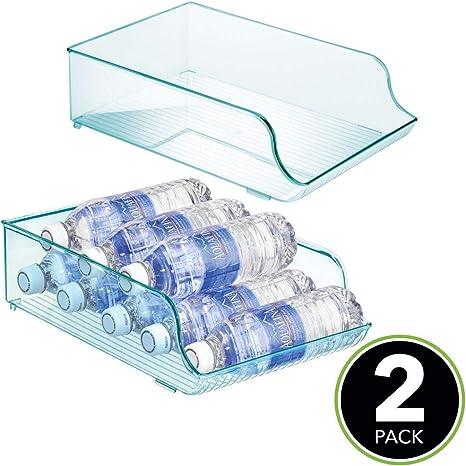 Azul Claro Estante para Botellas de Vino MetroDecor mDesign Botelleros para Nevera Que ahorran Espacio Caj/ón de pl/ástico para armarios de Cocina y encimera Agua y Otras Bebidas