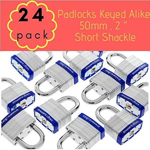 (Pack of 24,Dynamite Padlocks Heavy Duty Laminated Steel Padlock Short Shackle Hardened Steel Shackle, Commercial Grade Keyed Alike 2-Inch, 50mm Padlocks Keyed Alike Set (24))