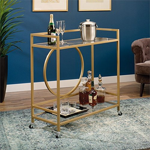 Sauder International Lux Bar Cart in Satin Gold (Bar Carts)
