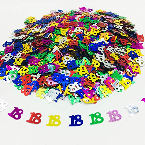 Birthday and Anniversary Event Party Decorations Number Foil Table Confetti DIY Confetti Glitter Sprinkles (Colorful, 18'Number)