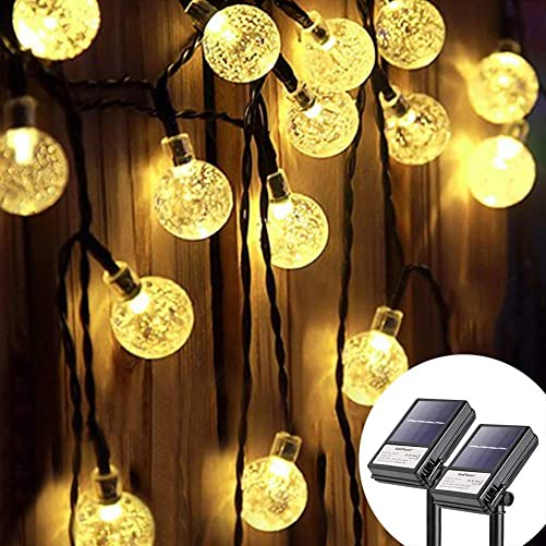 Koopower 2 Pack 30 Led 16ft Outdoor Solar Globe String Light 8 Modes Waterproof Fairy Ball Light Crystal Ball Lights with Timer for Garden Patio Gate Yard Party Wedding Indoor
